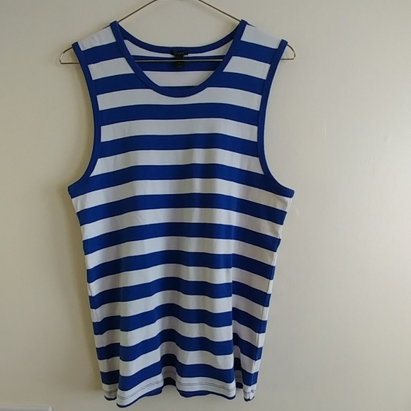 J. Crew Tops - J CREW Blue and White Striped Tank Top